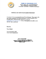 Notice of Open Position – Town Manager